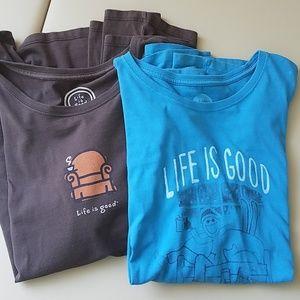 TWO Life Is Good LS T-shirts EUC  XL